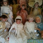 Cornucopia of French reproduction and vintage bisque dolls