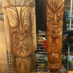 carved vintage wooden tikis