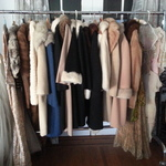 vintage furs & wedding dress
