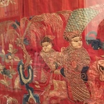 large red slk hanging depicting Guo Ziyi and immortals, China, 19th Century