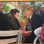 Karen Frey 'old men' painting, East Bay artist