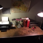 vintage desk and lamps