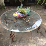 glass garden table