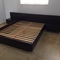 teak redwood stained mid century bed