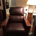1 of 2 contemporary Craftsman styled reclining chairs
