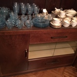English cabinet and blue glass