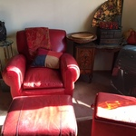 red leather arm chair with ottoman